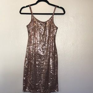 Forever 21 Rose Gold Sequin Mini Dress